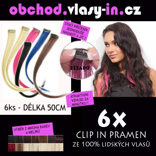 AKCE - sada 6ks clip in pramenů - délka 50cm - 100% lidské vlasy