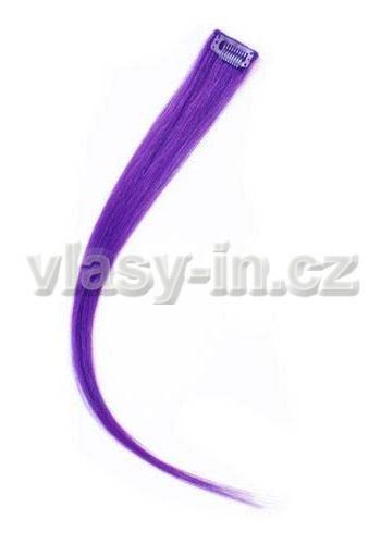 Melírovací clip in pramen - délka 50cm - fialová