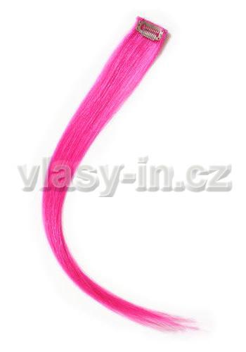 Melírovací clip in pramen - délka 50cm - růžová