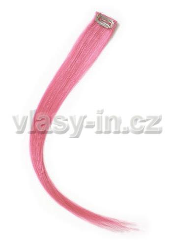 Melírovací clip in pramen - délka 50cm - světle růžová