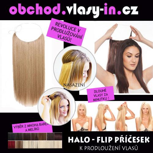 Flip in halo vlasy - rovné - mnoho barev a melírů