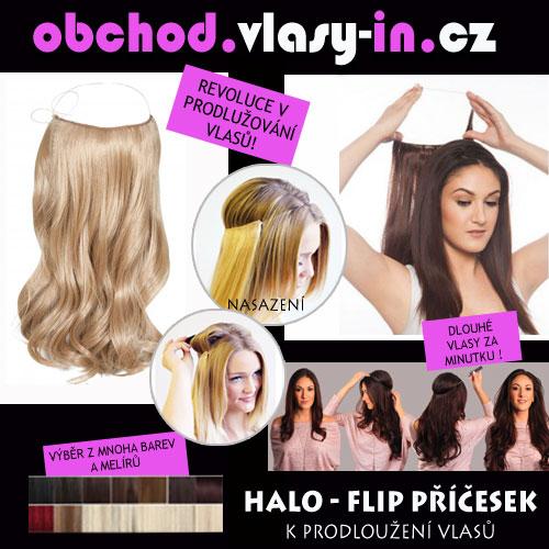 Flip in halo vlasy - zvlněné - mnoho barev a melírů