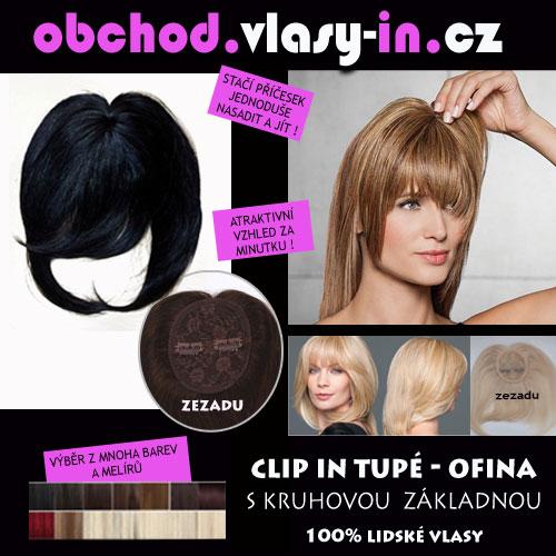 Tupé ofina s kruhovou základnou - 100% lidské vlasy - mnoho barev a melírů