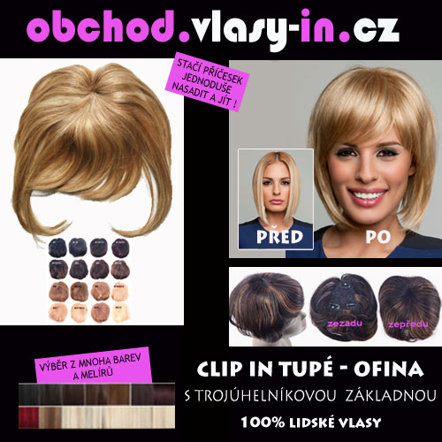 AKCE - tupé ofina z lidských vlasů - pro řídké vlasy a lysiny - mnoho barev a melírů
