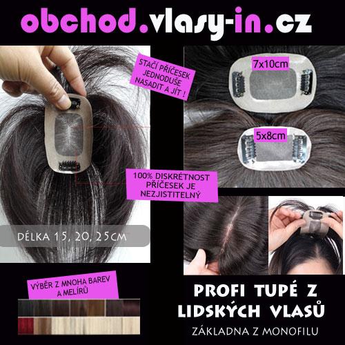 Profi lehké tupé příčesek z lidských vlasů - i k mikádům