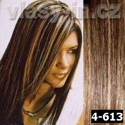 STANDARDNÍ clip in sada - středně hnědá/plavá blond (#4-613)