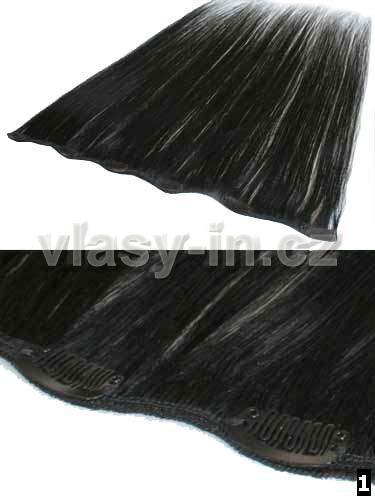 Melírovací clip in široký pás - černá jako uhel (#1)