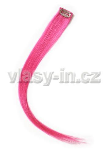 Melírovací clip in pramen - délka 38cm - růžová (#pink)