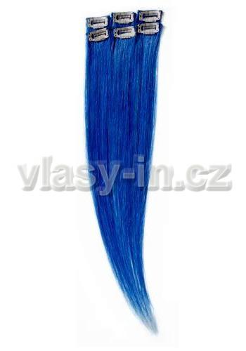Sada 6ks clip in pramenů - modrá (#blue)