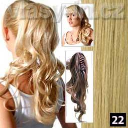 Příčesek -zvlněný culík na klipse - blond popelavá  (#22)