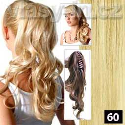 Příčesek -zvlněný culík na klipse - nejsvětlejší blond (#60)