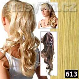 Příčesek -zvlněný culík na klipse - plavá blond (#613)
