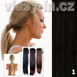 Culík - cop příčesek z rovných vlasů - černá jako uhel (#1)