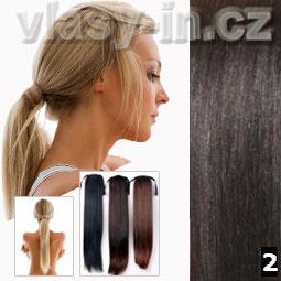 Culík - cop příčesek z rovných vlasů - nejtmavší hnědá (#2)