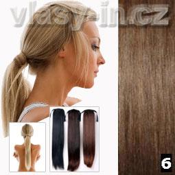 Culík - cop příčesek z rovných vlasů - kaštanově hnědá (#6)