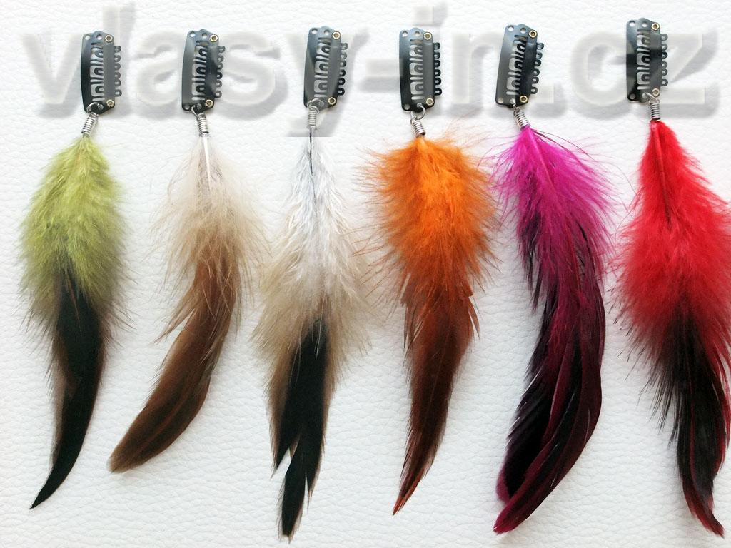 Peříčka do vlasů na clip sponce - přehled barev
