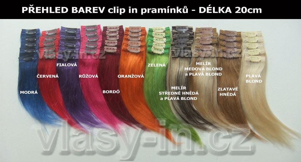 barevné pramínky do vlasů clip in