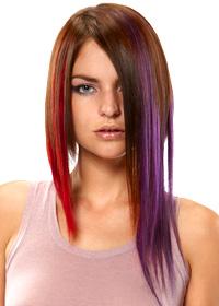 prodlužování vlasů clip in - červený a fialový melír