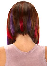 prodlužování vlasů clip in - červený a fialový melír do mikáda