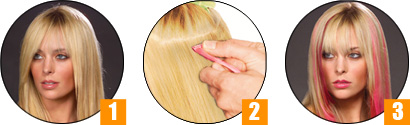 prodlužování vlasů clip in - růžový melír