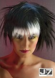 Asymetrické mikádo stylizované do rozcuchu, z polodlouhých rovných vlasů černé barvy s bílými pruhy v ofině