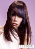 Účes z dlouhých postupně sestříhaných vlasů hnědé barvy s modrým melírem a ofinou do čela