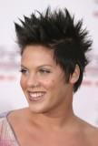 Pink - Rozcuch stylizovaný vzhůru, z rových vlasů hnědé barvy