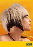 Výrazný krátký účes s rovnou ofinou, blond barvy s hnědě podbarveným spodem vlasů
