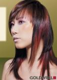 Dlouhý postupně sestříhaný účes černé barvy s červeným melírem, ofinou na patku