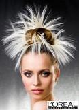 Excentrický účes z hladce vyčesaných vlasů do drdolu na temeni, s nápadným vlasovým doplňkem