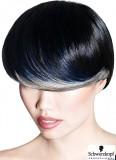 Extrémní účes z krátkých vlasů, s modrým a světlým melírem, hladce načesaný do očí
