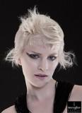 Neobyčejná úprava krátkých vlasů platinové barvy