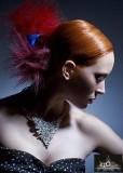 Elegantní uzel, měděné barvy s melíry