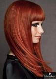 Elegantní vzhled s ofinou v tmavě červené