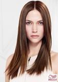 Dlouhé rovné hnědé vlasy s pěšinou uprostřed
