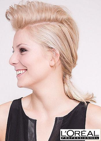 Zamotaný culík z blond vlasů s ofinou dovrchu