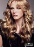 Účes z dlouhých vlnitých hustých vlasů s ofinkou, hnědé barvy s blond melírem