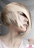 Dámské mikádo střižené do podkovy, s extrémě dlouhou ofinou na straně, blond platinové barvy s šedým melírem