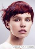 Ležérně upravený účes z krátkých rovných vlasů červené barvy s modrým melírem a ofinou do čela na straně
